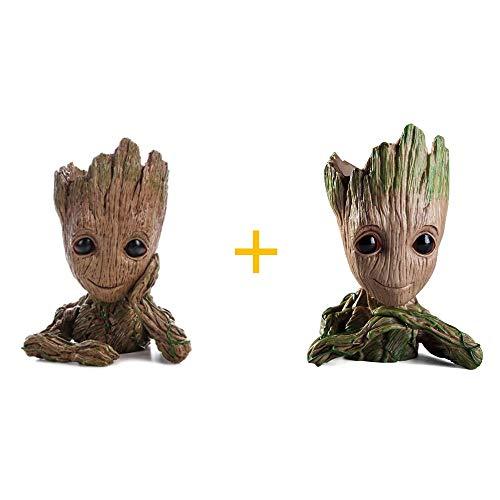 WILLBAN 2 Stück Baby Groot Blumentopf Figur aus Guardians of The Galaxy für Stiftehalter Sukkulenten Kinder
