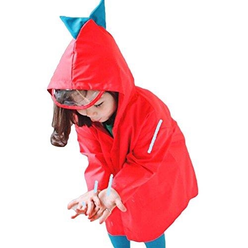 Kids raincoat - baby rain jacket impermeabile con cappuccio divertente leggero esterno dinosauro poncho pioggia di dinosauro per ragazzi o ragazze rosso/s