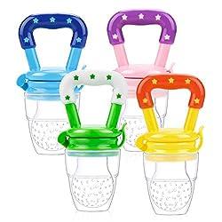 Laelr Fruchtsauger für Baby, 4 Stück Schätzchen Schnuller Gemüse sauger für Schätzchen Schnuller Beißring für Obst Gemüse Brei (4pcs 1)