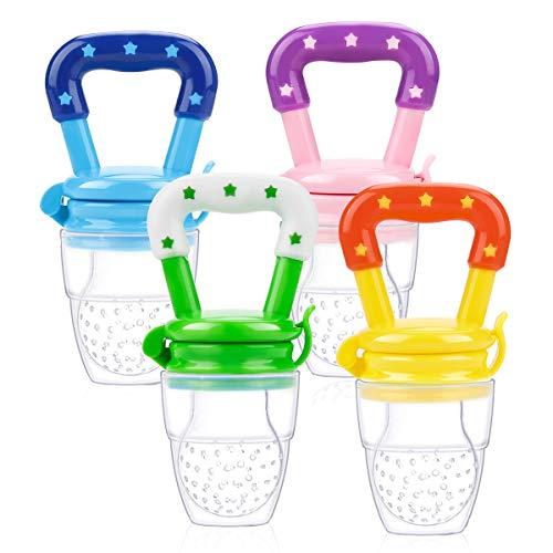 Laelr Fruchtsauger für Baby, 4 Stück Schätzchen Schnuller Gemüse sauger für Schätzchen Schnuller Beißring für Obst Gemüse Brei