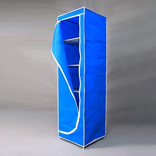 MMM& Simple Petits Dortoirs Tissus Armoire Tissu Pliant Cadre en Acier Armoires Armoires renforcées (couleur : Bleu)