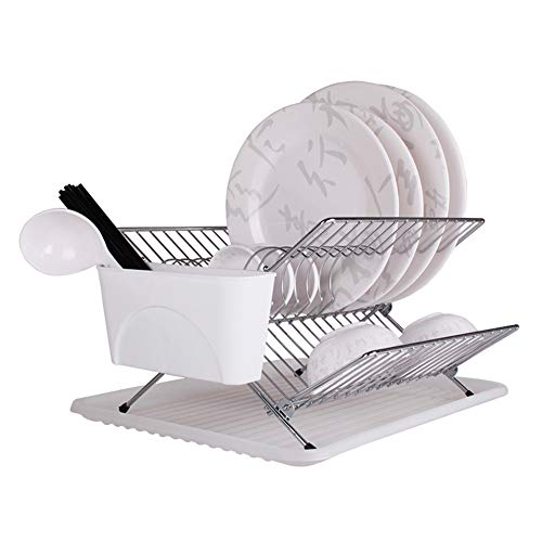 LXLA- Desktop Faltbare Küche Regal Edelstahl Teller Platte Ablauf Rack Geschirr Lagerhalter Küche Liefert 43 × 32 × 20 Cm (Teller-regal-wand-display)
