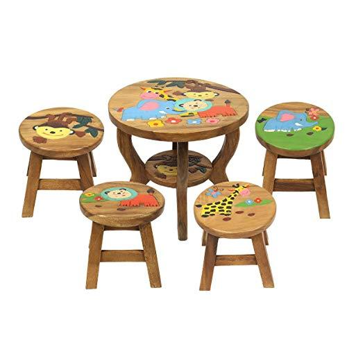 Oriental Galerie Kinder Sitzgruppe Tische und Stühle 5er Set Tischgruppe Massiv Robust Dschungel Motiv Holz Braun -