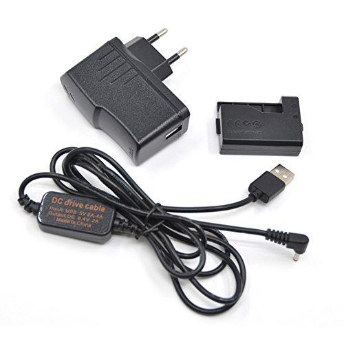 5V USB Kabel ACK-E10 Mobile Netzteil + DR-E10 LP-E10 LPE10 Dummy Akku DC Grip + 5V 3AMP Adapter Kit für Canon 1000D 1100D 1200D 1300D X50 X70 T3 T5 T6