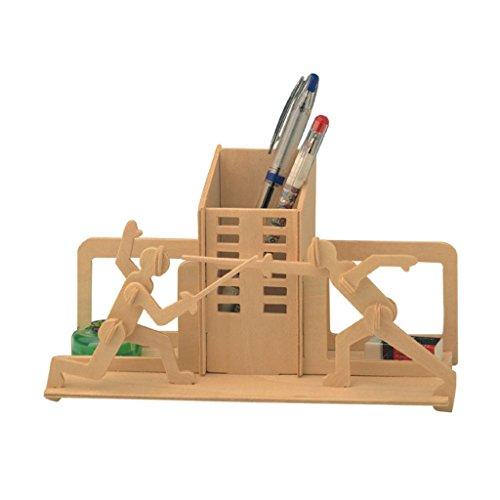 Kinder DIY Modell-Bausatz Aus Holz Puzzles Spielzeug Pädagogisches Spielzeug - Fechten Federbehälter, 21x17x0.3cm