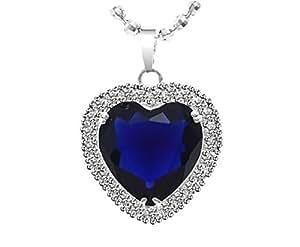 Cadeau d'amour Femme Collier avec Pendentif Femme - Cœur Cristal Bleu Royal idéale de dire Je t'aime ! Plaque Or Blanc