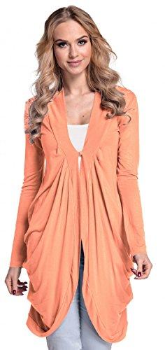 Glamour Empire. Damen Jersey-Strickjacke drapierung vorne offen M-XL. 286 (Aprikose, EU 38/40)