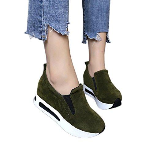 Laufende Lässige Schuhe Frauen,Damen Mode Elegant Reise-Schuhe Zunehmende Wedges Thick Bottom Schuhe Britischen Stil Vier Jahreszeiten Wildleder Sportschuhe (CN:38/EU:37, Armeegrün)
