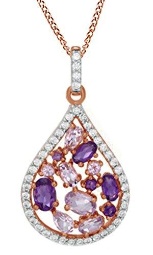 AFFY  -  925 Sterling-Silber  mit Rotgold vergoldetes Silber (18 Karat) Ovalschliff   Violett Améthyste - Teardrop Ringe Amethyst