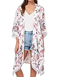 So8ooa Camicia Donna Kimono Coprispalle a Maniche Lunghe Camicetta Top  Bikini Costumi da Bagno Costumi da 707d4f6fed83