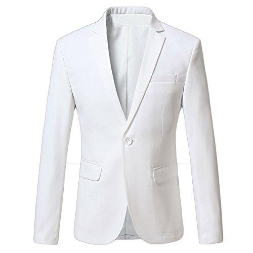 Mirecoo Slim-Fit Business Herren Blazer Baukastensakko Hochzeit Party Weiß