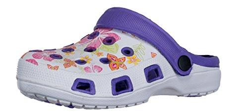 Brandsseller Damen Clogs Pantoffel Schuhe Gartenschuhe Hausschuhe - Rot/Weiß, Gelb/Weiß und Blau/Weiß mit Muster Gr. 36-41 Gemustert (38, Lila/Weiß)