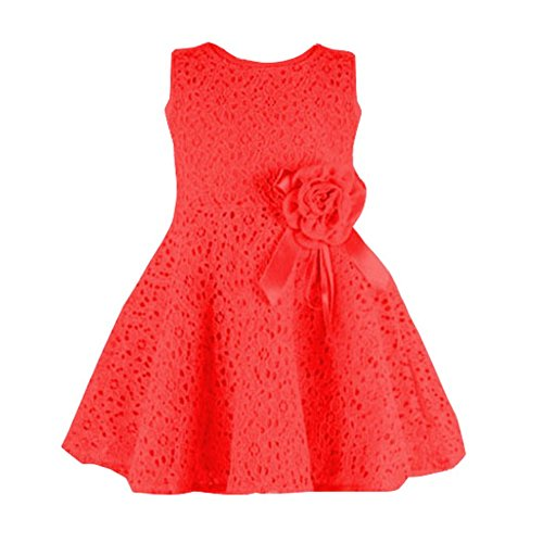 Brightup Party Kleid 0-18 Monate Baby Mädchen Kleider, Red, 0-6 Monate