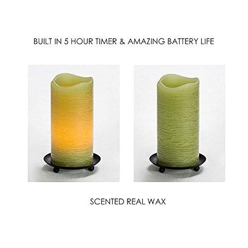 Conjunto de 6LED de 6cm funciona con pilas sin llama velas de cera con mecha de Real–Verde Color–con construido en temporizador