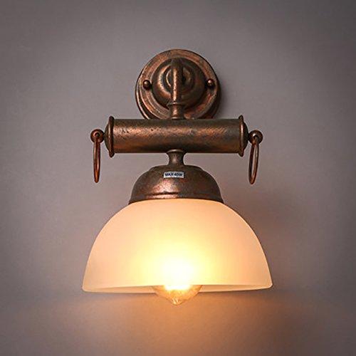 TOYM UK Schmiedeeiserne Glaswandlampe des Einzelkopfs, industrielle Weinlesewandlampe des Dachbodens für Gang / Stab (Schmiedeeiserne Stab)
