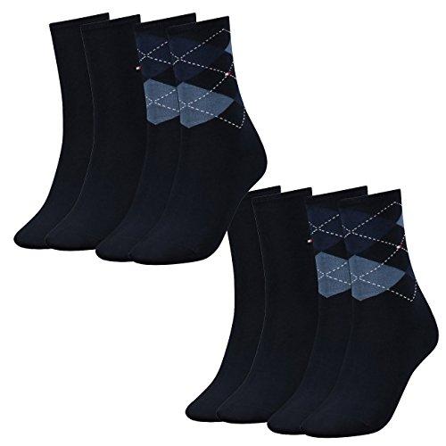 Tommy Hilfiger Damen Socken Check Casual Socken 4er Pack, Größe:35-38, Farbe:Tommy Blue (054)