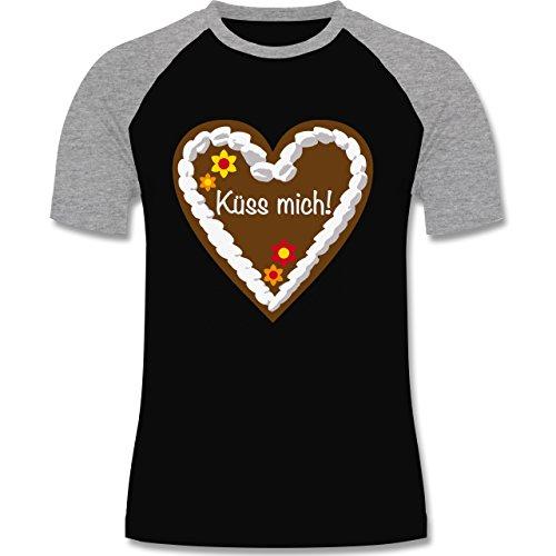 Oktoberfest Herren - Lebkuchenherz Küss mich - zweifarbiges Baseballshirt für Männer Schwarz/Grau Meliert