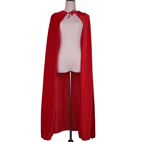 MagiDeal Erwachsene Kinder Halloween Hexe Umhang Samt Karneval Fasching Zauberer Kostüm Cape mit Kapuze - Rot (Rote Kostüm Hexe Halloween)