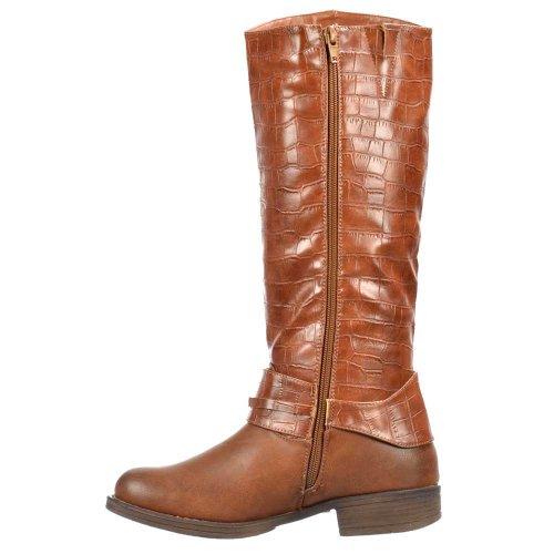 Onlineshoe delle donne delle signore stivali alti al ginocchio piatta con stampa coccodrillo Superiore - Nero, Tan Brown Marrone