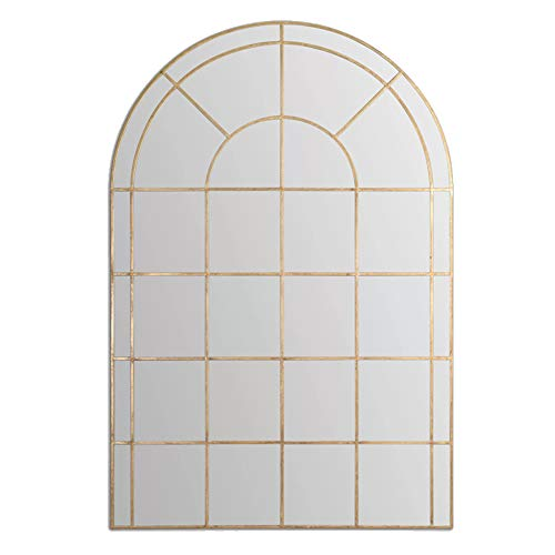 Cqing Espejo de Pared Decorativo, Longitud Completa, de Estilo Vintage, Espejo Colgante de Madera, Acento Enmarcado en la Ventana del Arco, casa, Villa 23 x 51 Pulgadas