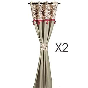 Paire de rideaux brodée 140x260cm coton liberty