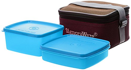 Signoraware Quick Carry Plastic Lunch Box with Bag, T Blue