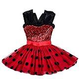 Baihui Vestido de Lentejuelas de niña El Disfraz de Cosplay de Cremallera de Ladybug milagrosa