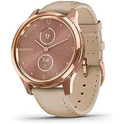 Garmin Vivomove Luxe Smartwatch Hybrid Analógico Digital Unisex, Caja Oro Rosa, Correa de Cuero Arena 010-02241-01