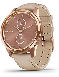 Garmin Vivomove Luxe Smartwatch Hybrid Analogue Digital Unisex, Rose Gold Case, Sand Leather Strap 010-02241-01