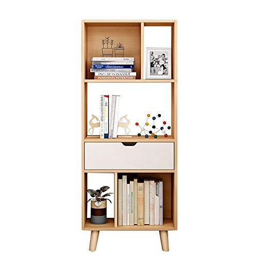 Melodycp Bookshelf Storage Display Shelving 4 Tiers Bookcase Unit Raumteiler Regal Book Holder Rack für Schlafzimmer (Farbe : Nordic Pine Color, Größe : 50 * 25 * 123cm) -