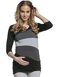 HAPPY MAMA Mujer Top Camiseta Premamá Lactancia Bloque De Color Doble Capa 217p