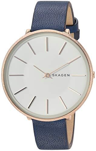 Skagen Damen Analog Quarz Uhr mit Leder Armband SKW2723