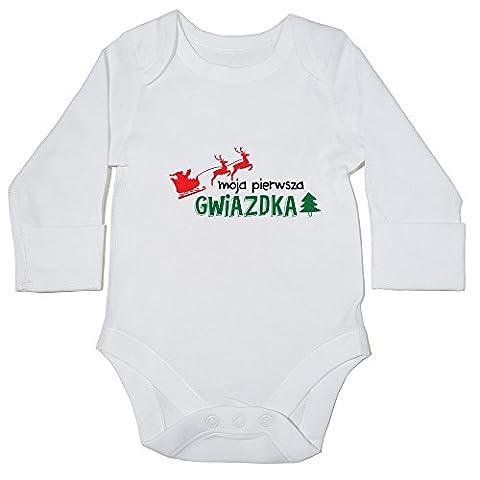 hippowarehouse Moja pierwsza gwiazdka (My First Christmas en polonais) Body bébé () à manches longues pour garçons filles - blanc - 18 mois