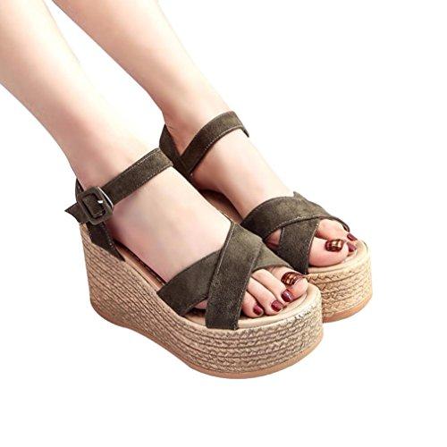 Sandalias de Vestir Plataforma Tacón Alto de Playa para Mujer, QinMM Casual Zapatos de Baño Verano Fiesta Chanclas (34, Verde)