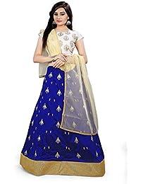 Shree Rang Creation Women's Blue Taffeta Silk Designer Lehenga Choli(AFL-06_Blue_Free Size)