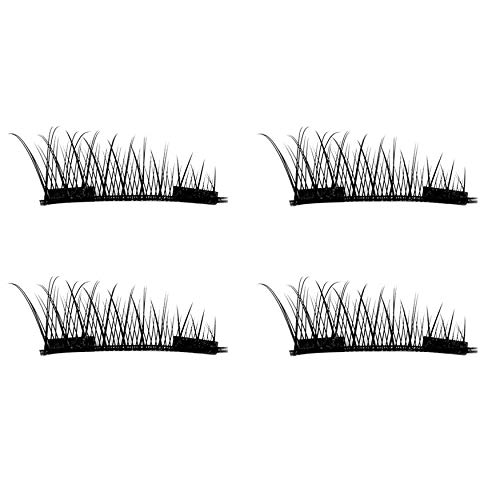 Yaoaofron 4PCS/2 Pairs Natural Thick Eye Lashes Glue-Free 3D Magnetic Women Eye Makeup Beauty Thick Long False Eyelashes