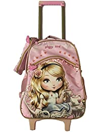 Rolling Backpack Latest Design Pink School Bag With Trolley For Girls With Pencil Case Pouch