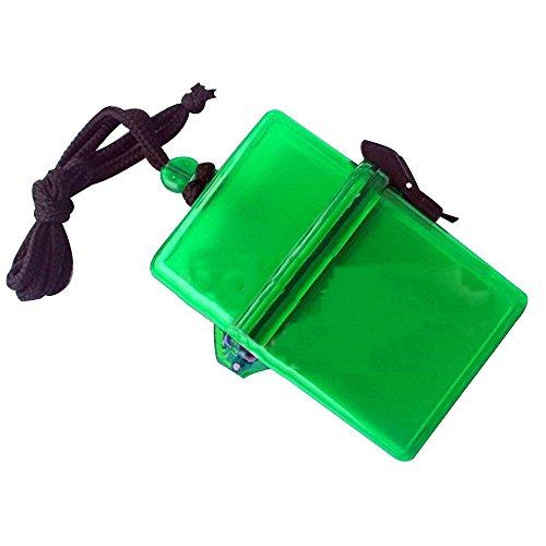 Sijueam Wasserdichte box Klein Kunststoff Zigarettenbox Ultraleicht Geldscheinbox Aufbewahrungsbox Kopfhörer Papiere Batterien Keys Kleine Gadgets Geld Container mit Lanyard für Schwimmen Beach Reisen Wandern Camping - Grün