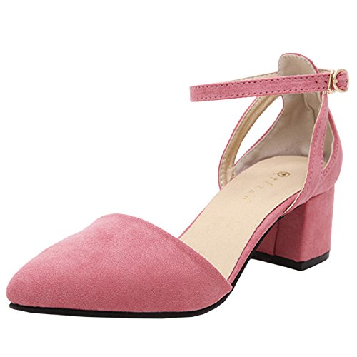 Azbro Women's Pointed Toe Ankle Buckle Medium Heels Pumps Pink