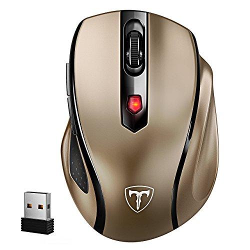 VicTsing Mini Schnurlos Maus Wireless Mouse 2.4G 2400 DPI 6 Tasten Optische Mäuse mit USB Nano Empfänger Für PC Laptop iMac Macbook Microsoft Pro, Office Home (Gold)