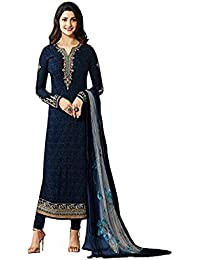 Blue Prachi Georgette Embroidery Straight Salwar Suits