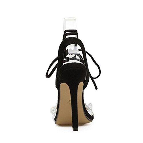 WYWQ Donna Sandali con tacchi alti New Cross Straps con strass 35-40 Bocca poco profonda nera black