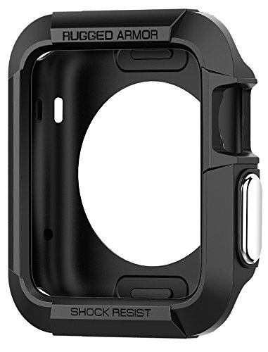 Apple Watch Hülle, Spigen® [Rugged Armor] 42mm Silikon Schutzhülle für Apple Watch 1 & Apple Watch 2 [Schwarz] Elastisch Ultimativ Schutz vor Stürzen und Stößen - [Karbon Look] Schutzhülle für Apple Watch 1 (42mm) & Apple Watch 2 (42mm) - Black (SGP11496)