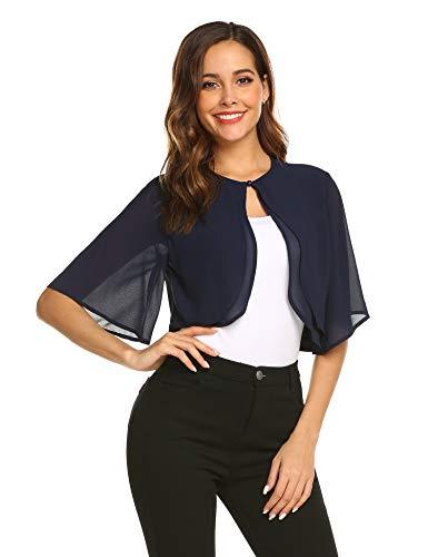 Parabler Damen Festlich Chiffon Bolero Kurze Ärmel Elegant Jacke Schulterjacke Durchscheinendes Looes Cardigan für Sommer Blau Dunkelblau L -