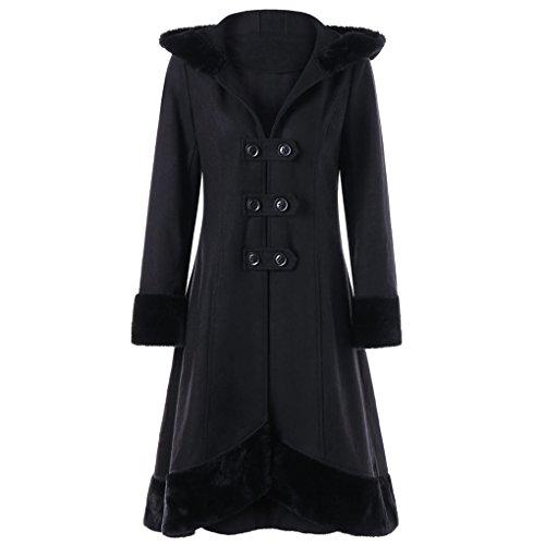Lady Wintermantel Jacke JYJMWarme JackeFrauen Warme Dünne Mantel Jacke Dicke Parka Mantel Lange Winter Outwear (2XL, Schwarz)