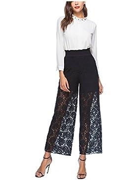 SYGoodBUY Pantalones Largos de Encaje de Mujer Pantalones Largos de Cintura Elástica Elegante Plus Size