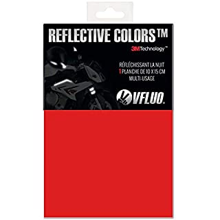 VFLUO 3M REFLECTIVE COLORS™, Universal adhesive DIY kit for Helmet/Motorbike / Scooter/Bike, 3M Technology™, 10 x 15 cm sheet, Red