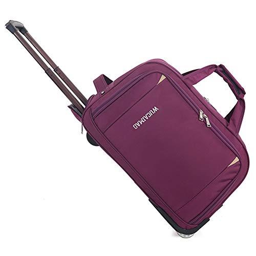 GJF Rolltasche mit Rollen, Oxford-Stoff, faltbares Gepäck, große Kapazität, leichte Reisetasche, Outdoor Camping Reise violett violett Large - Rolling Weekender