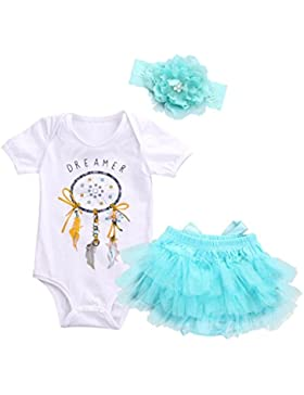 Omiky® Baby Mädchen Dreamcatcher Strampler + Tutu Rock Tüll Outfits Kleidung 3 Stücke Set