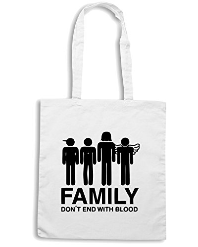 T-Shirtshock - Borsa Shopping OLDENG00258 supernatural family dont end with blood s Bianco